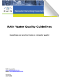 RAIN Water Quality Guidelines; Guidelines and practical tools on rainwater quality